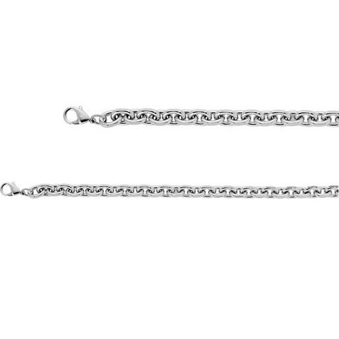 30in Stainless Steel Diamond-Cut Rolo Chain 10.5mm