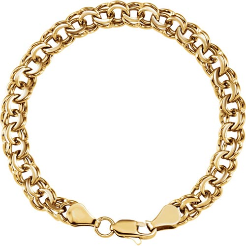 14kt Yellow Gold 7in Charm Double Link Bracelet with Lobster Clasp