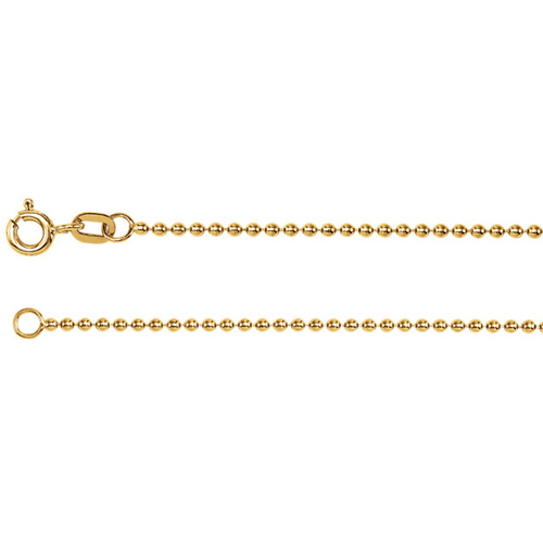 14kt Yellow Gold 20in Bead Chain 1.25mm