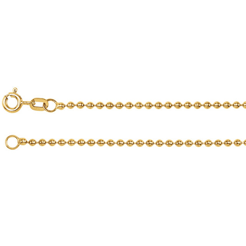 14kt Yellow Gold 16in Hollow Bead Chain 1.75mm