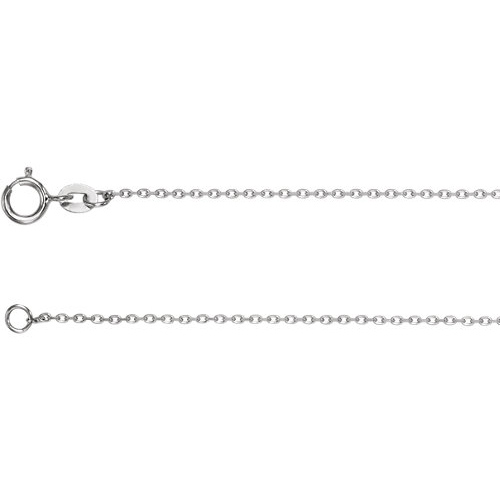 14kt White Gold 18in Diamond-cut Cable Chain 1mm