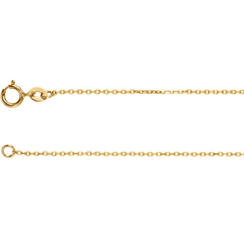 14kt Yellow Gold 16in Diamond-cut Cable Chain 1mm