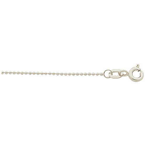14kt White Gold 24in Bead Chain 1mm