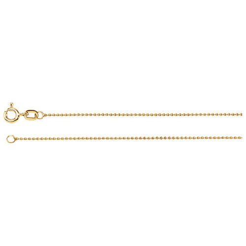14kt Yellow Gold 20in Bead Chain 1mm
