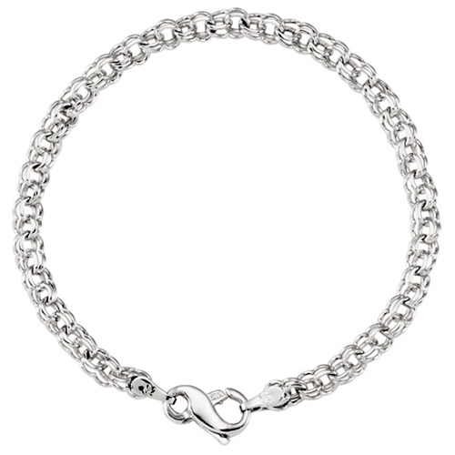 14k White Gold Double Cable Link Bracelet with Infinity Symbol Clasp