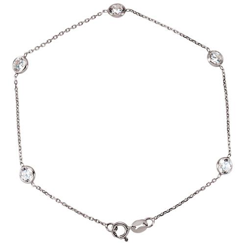 14k White Gold Cubic Zirconia Five Station Bracelet