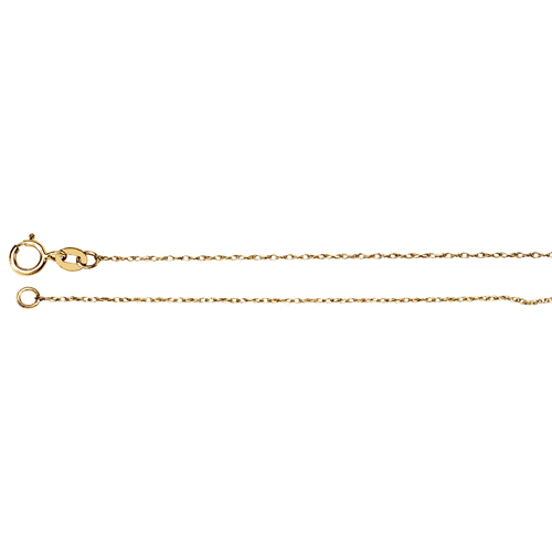 14kt Yellow Gold 16in Rope Chain .75mm