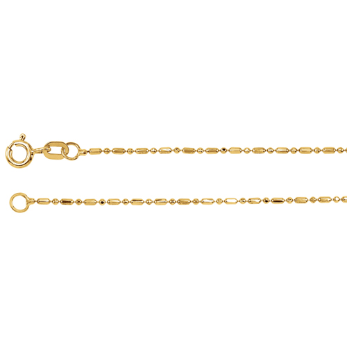 14k Yellow Gold 16in Alternating Bead Chain 1.25mm