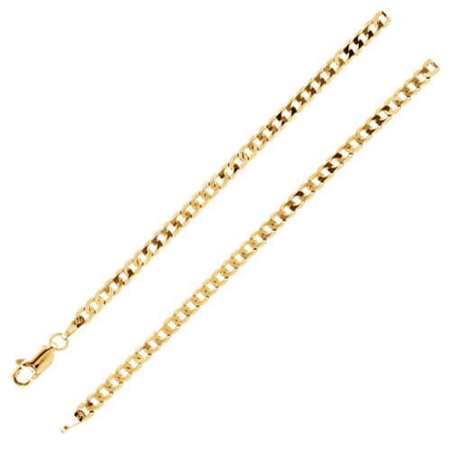 14kt Yellow Gold 16in Curb Chain 3.25mm