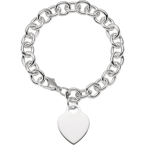 Sterling Silver 7 1/2in Cable Bracelet with Heart Charm