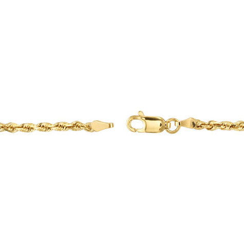 14kt Yellow Gold 7in Diamond Cut Rope Charm Bracelet