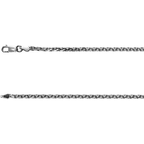 14kt White Gold 18in Diamond-cut Wheat Chain 2mm