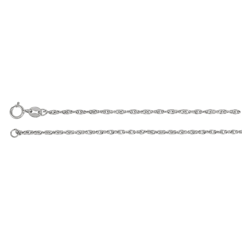 14kt White Gold 16in Rope Chain 1.75mm