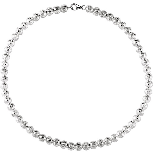 Sterling Silver 18in Hollow Bead Necklace 8mm