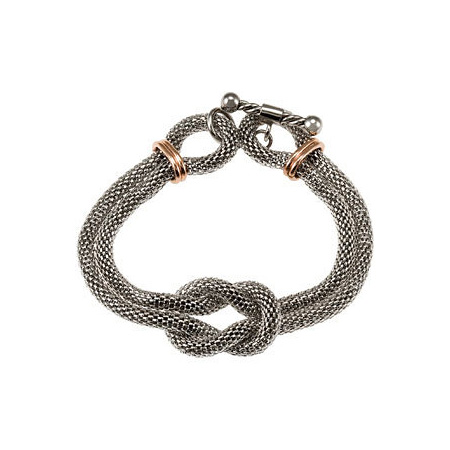 Steel Mesh Bracelet with Rose Gold Plating 7 1/2in