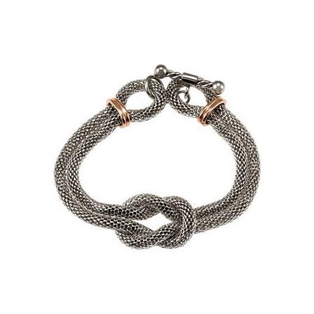 Steel Mesh Bracelet with Rose Gold Plating 7 1/2in