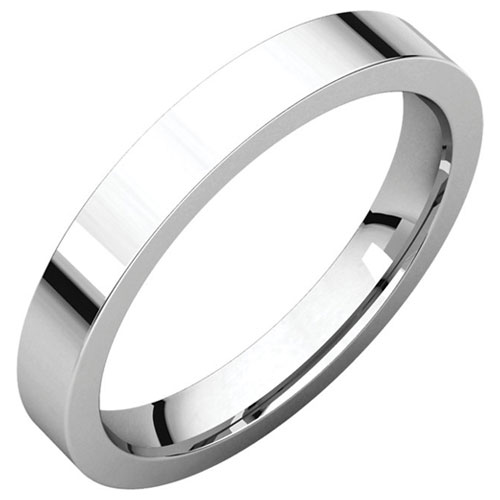 14k White Gold 3mm Comfort Fit Flat Wedding Band