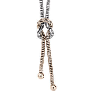 22in Steel Mesh Knot Lariat with Yellow Gold Plating