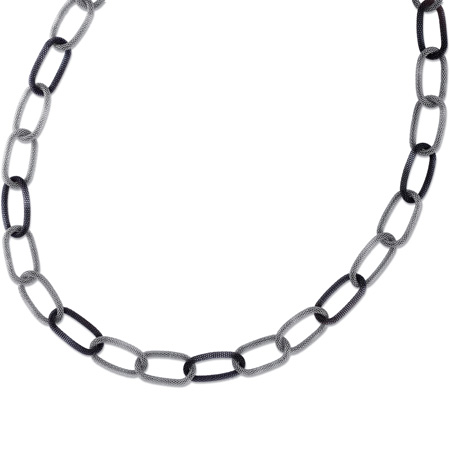 36in Steel Mesh Necklace with Black Bonded Plating