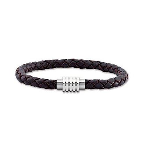 8 1/2in Genuine Dark Brown Leather Bracelet