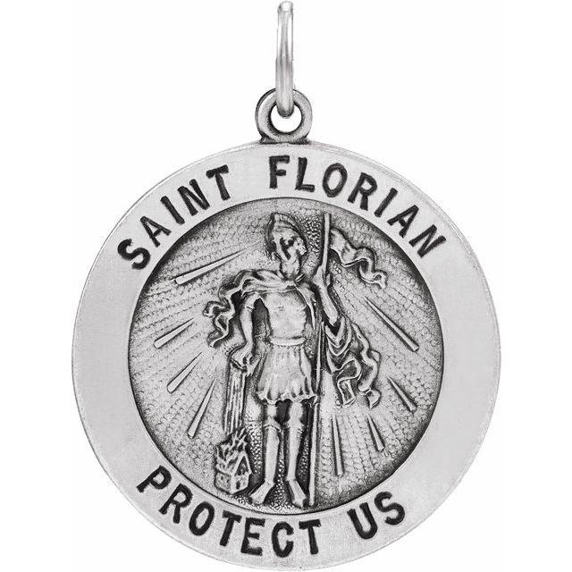 14kt White Gold St. Florian Medal 18mm
