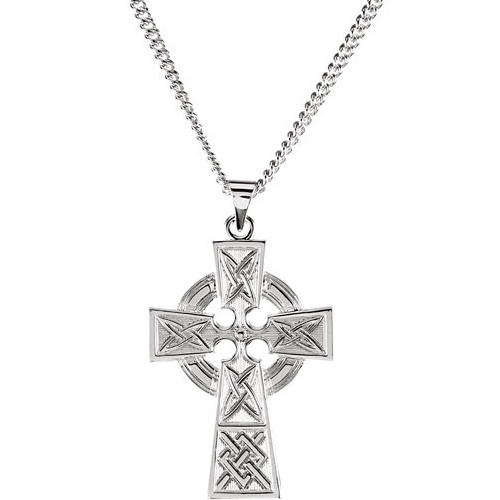 Sterling Silver 1 1/4in Celtic Cross with 24in Curb Chain
