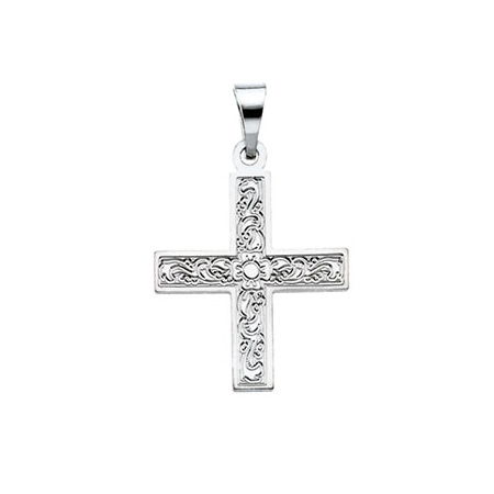 14kt White Gold 5/8in Ornate Greek Cross