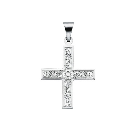 14kt White Gold 3/4in Ornate Greek Cross