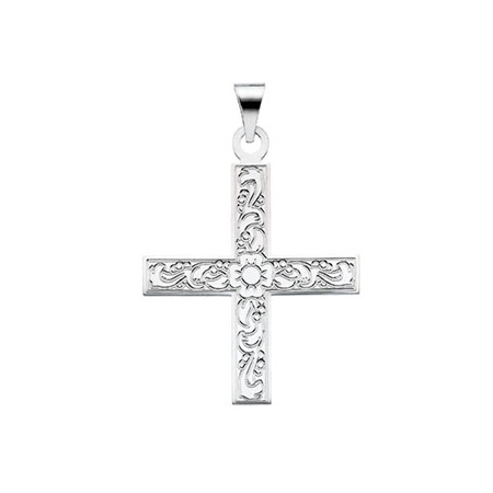 14kt White Gold 1in Ornate Greek Cross Pendant