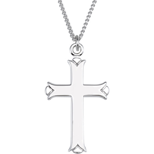 Sterling Silver 1in Budded Cross & 18in Chain