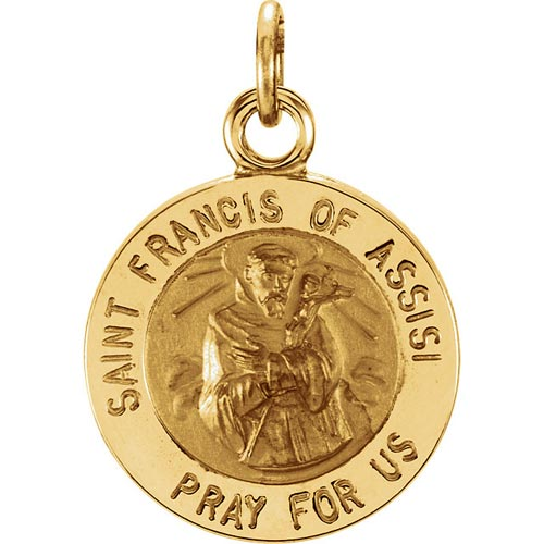 14kt Gold St. Francis of Assisi Medal 12mm