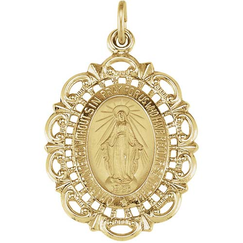 14kt Yellow Gold 1in Filigree Miraculous Medal