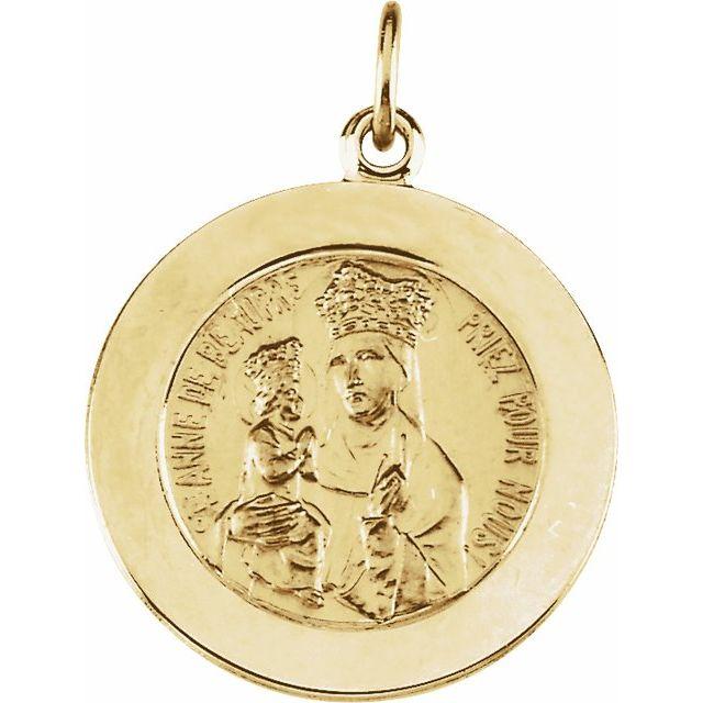 14k Gold 12mm St. Anne Medal