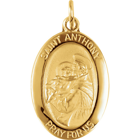 14kt Yellow Gold 3/4in Oval St. Anthony Medal
