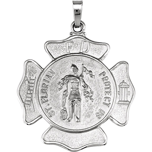 Sterling Silver 1in St. Florian Medal with 24in Chain