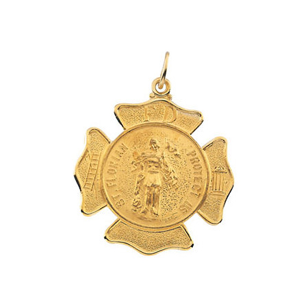 14kt Yellow Gold 1in St. Florian Shield Medal