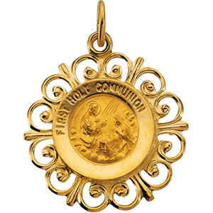 14kt Yellow Gold 3/4in First Holy Communion Medal