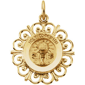 14kt Yellow Gold 3/4in Holy Communion Medal