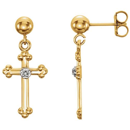 14kt Yellow Gold .01 ct Diamond Cross Dangle Earrings