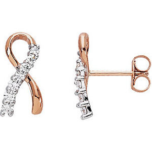 14kt Rose Gold 1/4 ct Diamond Ribbon Earrings