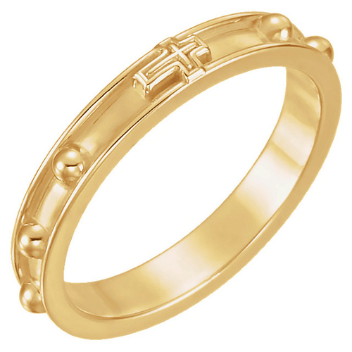 14k Yellow Gold Rosary Ring with Raised Borders