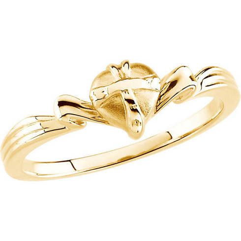 14kt Yellow Gold Gift Wrapped Heart Chastity Ring with Box
