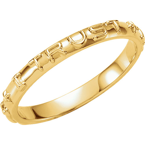 14kt Yellow Gold Men's Jesus I Trust In You Ring