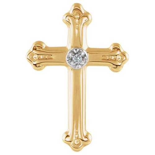 14k Yellow Gold Diamond Budded Cross Lapel Pin