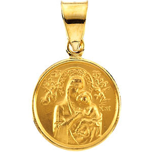 18kt Gold 1/2in Lady of Perpetual Help Medal