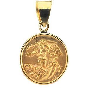 18kt Yellow Gold 1/2in Round St. Michael Medal