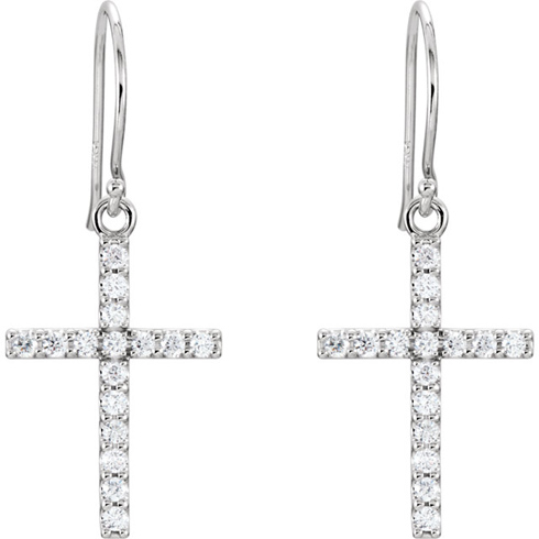 14kt White Gold 1/2 ct tw Diamond Cross Dangle Earrings
