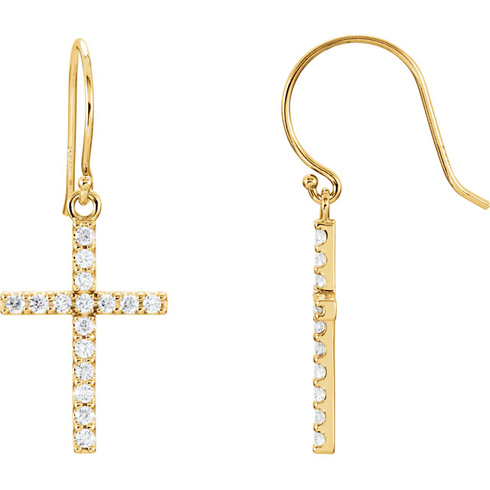 14kt Yellow Gold 1/2 ct tw Diamond Cross Dangle Earrings