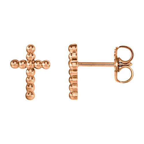 14kt Rose Gold 3/8in Beaded Cross Earrings
