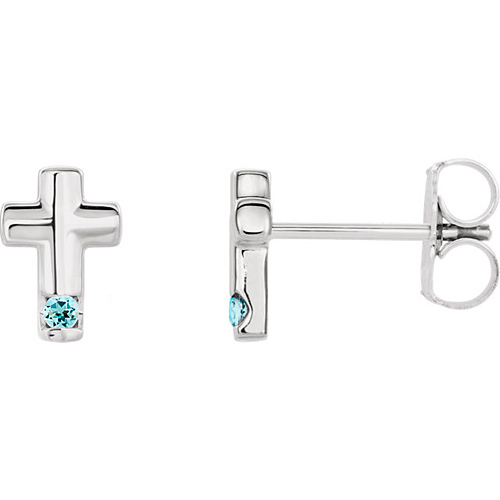 14k White Gold Aquamarine Accented Cross Earrings